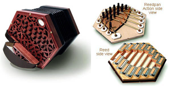 Anglo concertina, inside and out.