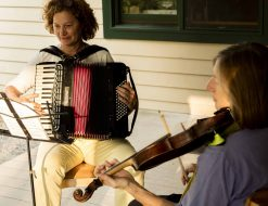 Piano accordion and fiddle